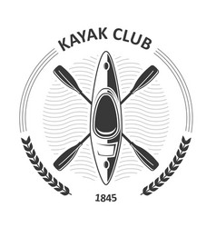 Kayaking club emblems - canoe and two crossed vector