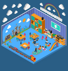 kindergarten isometric composition vector image