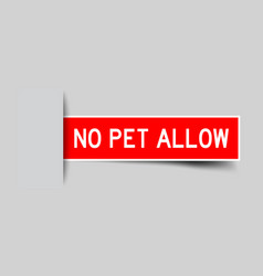 Label sticker red color in word no pet allow that vector