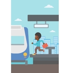Latecomer man running for the train vector