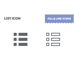 list icon fill and line flat design ui vector image