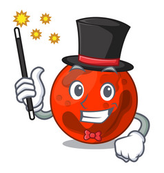 Magician mars planet mascot cartoon vector