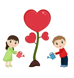 Man and woman watering flower vector image
