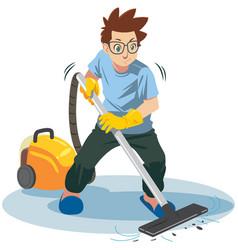 Man using vacuum cleaner vector