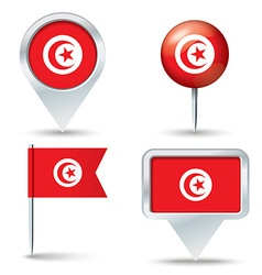 Map pins with flag of Tunisia vector