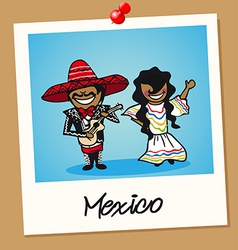 Mexico travel polaroid people vector