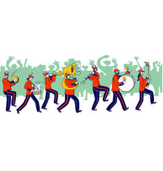 Military orchestra characters wearing festive red vector