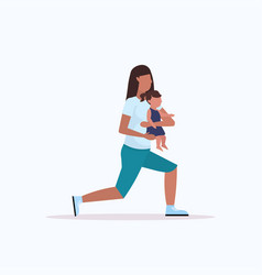 mother with kid doing squats physical exercises vector image