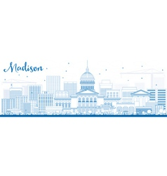 Outline madison skyline with blue buildings vector