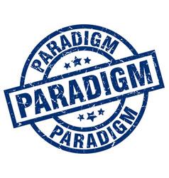 Paradigm blue round grunge stamp vector
