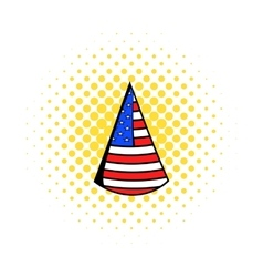 party hat in usa flag colors icon comics style vector image