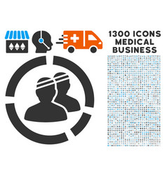 Patients diagram icon with 1300 medical business vector