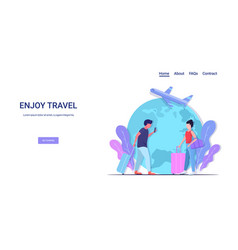 People with luggage having holiday trip enjoy vector