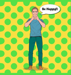 Pop art man making fake smile with her fingers vector