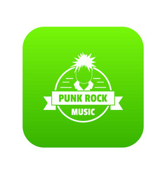 Punk rock music icon green vector