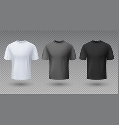 realistic male shirt white black and gray t-shirt vector image