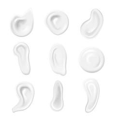 Realistic white swirl or foam cream set cosmetic vector