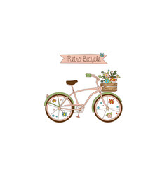 retro bicycle with a basket of flowers had drawn vector image