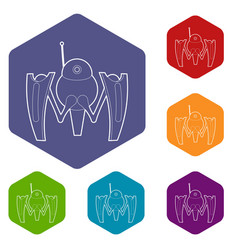 Robot crab icons hexahedron vector