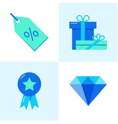 Sale and gifts icon set in flat style vector