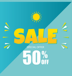 sale special offer 50 off blue background vector image