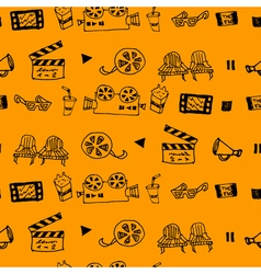 Seamless hand drawn pattern with cinema attributes vector