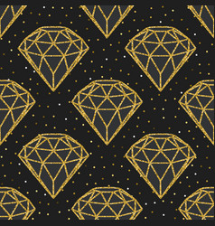 seamless pattern geometric golden foil diamonds vector image