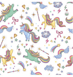seamless pattern of unicorn clouds vector image