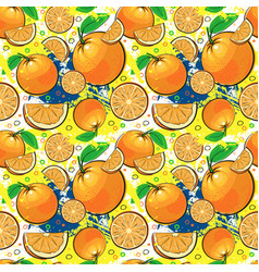 Seamless pattern orange fruits summer ornament vector
