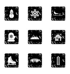 Season winter icons set grunge style vector
