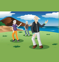 Senior people exercising tai-chi outdoor vector