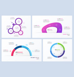 set minimal infographic templates 4 vector image