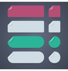 Set of rectangle and round blank paper stickers vector