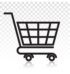 Shopping cart line art icon on a transparent vector