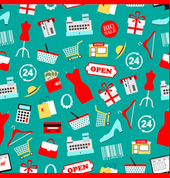 shopping seamless pattern clothing icons vector image