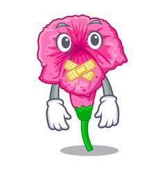 Silent petunia in a mascot flower basket vector