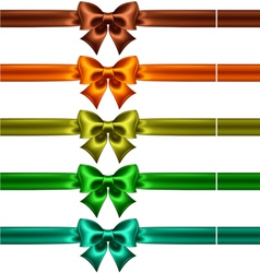 Silk bows with ribbons in dark colors vector