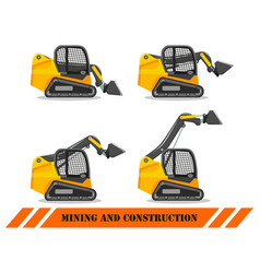 skid steer loader with different boom position vector image