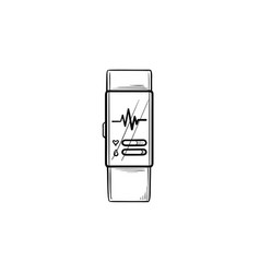 smart watch with heart rate hand drawn outline vector image