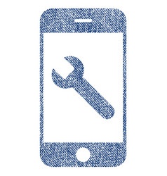 Smartphone options wrench fabric textured icon vector