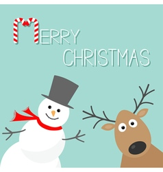 Snowman and deer Blue background Candy cane Merry vector