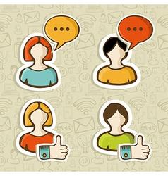 Social media user profile button icons set vector