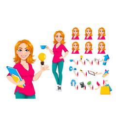 Successful businesswoman cute business woman vector