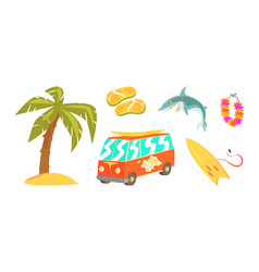 surfing set summer vacation objects palm tree vector image