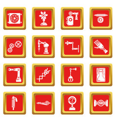 Technical mechanisms icons set red square vector