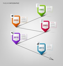 Time line info graphic with colored design vector image