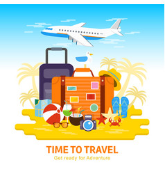 Travel luggagetravel to world flat design vector