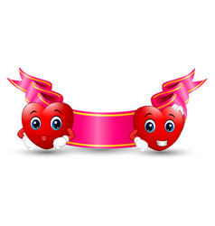 two red smiling cartoon hearts with color ribbon p vector image
