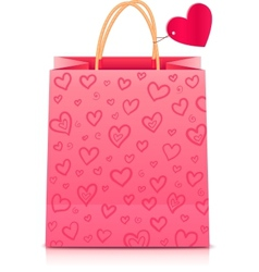 Valentines day rore paper shopping bag vector