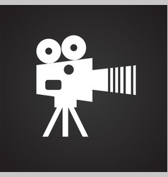 Video film camera icon on white background for vector